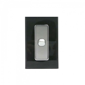 1 Gang Silver Switch & Black Glass Cover
