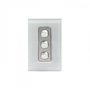3 Gang Silver Switch & White Glass Cover