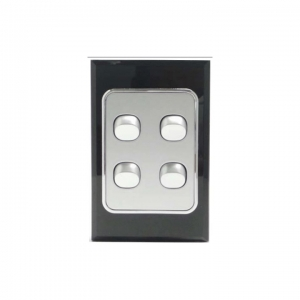 4 Gang Silver Switch & Black Glass Cover