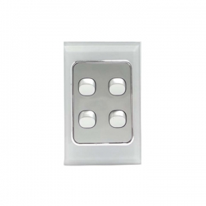 4 Gang Silver Switch & White Glass Cover