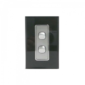 2 Gang Silver Switch & Black Glass Cover