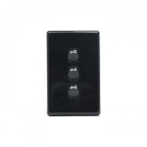 3 Gang Black Switch & Black Cover