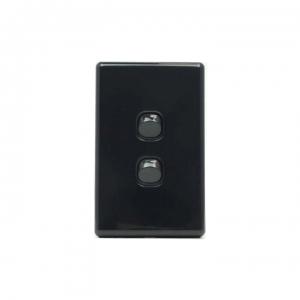2 Gang Black Switch & Black Cover